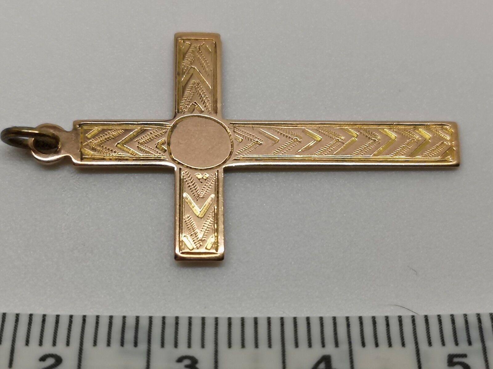 9 carat pink gold Fully Hallmarked Cross Pendant --- religious Christian faith