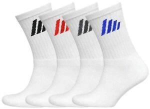 6-Pairs-Mens-Plain-White-Sports-Socks-Stripe-Logo-Comfort-Toe-Seam-Size-6-11