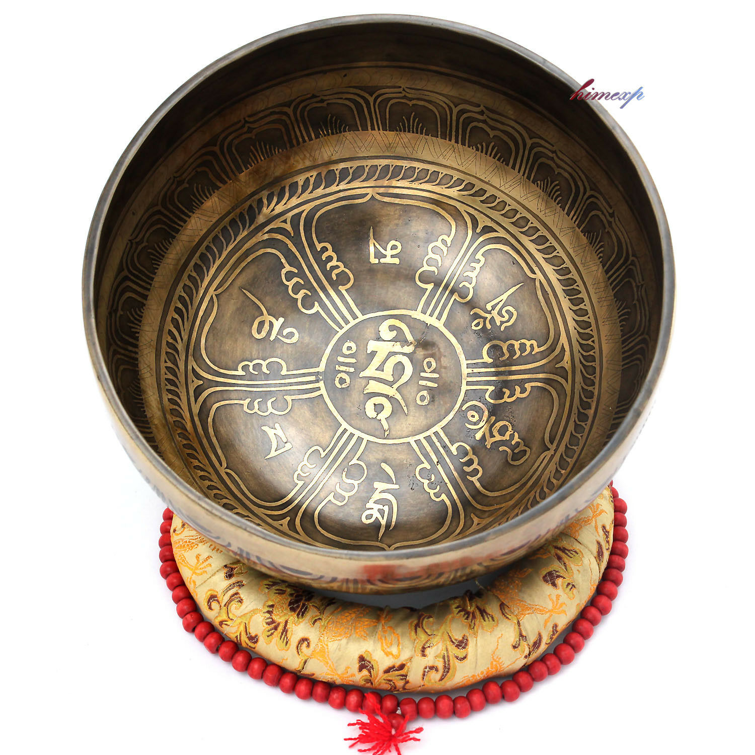 21.5cm, Mantra & Symbol Carved Singing Bowl for Special Therapy and Yoga(Note-F)