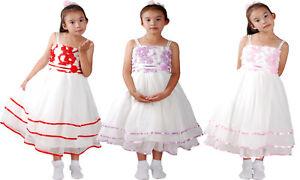 watch 444d2 978b2 Dettagli su Bambina Vestito Fiore Festa Abito Lilla Rosa Rosso 3 4 5 6 7  Anni