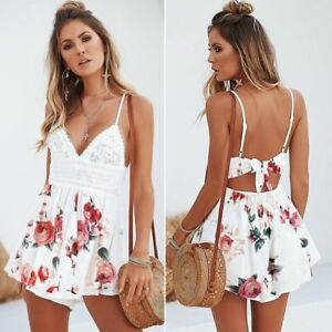 66b10ac811c Details about Womens Summer V-Neck Backless Lace Floral Printed Short  Jumpsuits Rompers