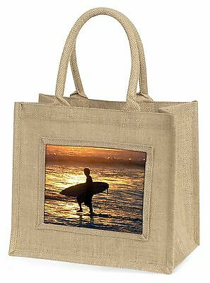 Sonnenuntergang Surfen Große Natürliche Jute-einkaufstasche Weihnachten,