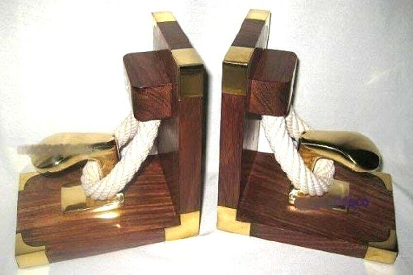 Exclusive Buchstützen aus Holz Messing mit Poller und Tauwerk - massiv- 1900g