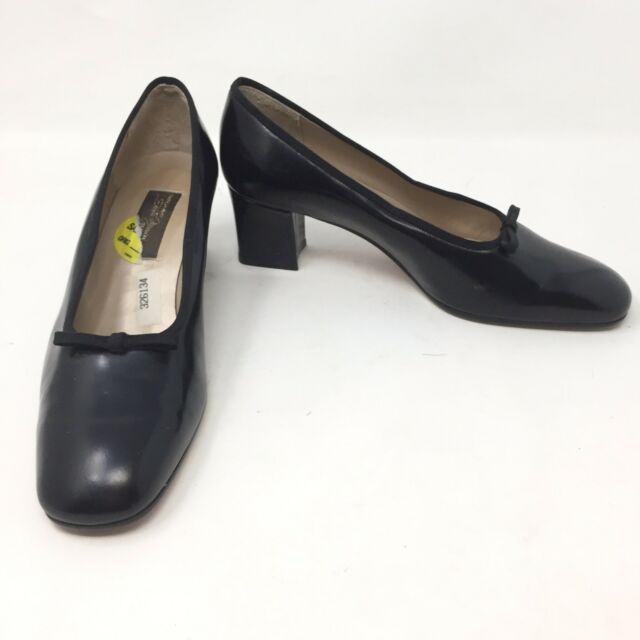 Sesto Meucci Pumps Black Leather Block Heel Made in Italy Size 7.5M Bow C3A