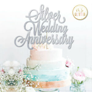 Image Is Loading Silver Anniversary Cake Topper 25th Wedding Glitter
