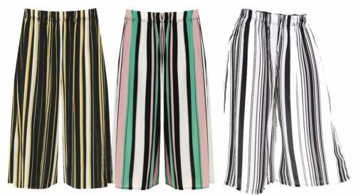 Femme Plus Size stretch taille haute jambe large tri-bandes de couleur Imprimé Jupe-culotte