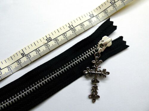 Zipper métal Fermé Fin YKK Noir Décoré Cross Puller Zip