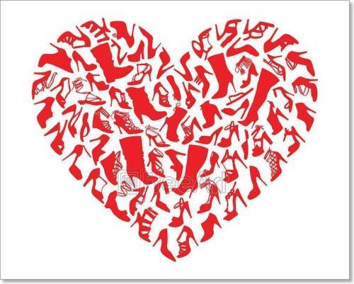 Vector Art Print Home Decor Wall Art Poster Red Heart Shoes F