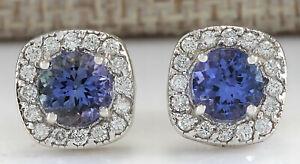 2-97-Carat-Natural-Tanzanite-14K-White-Gold-Diamond-Earrings