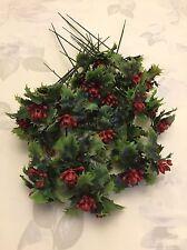 36 Plastic Holly Berry Picks Christmas Foliage Wreath Decor Wired Stem Joblot