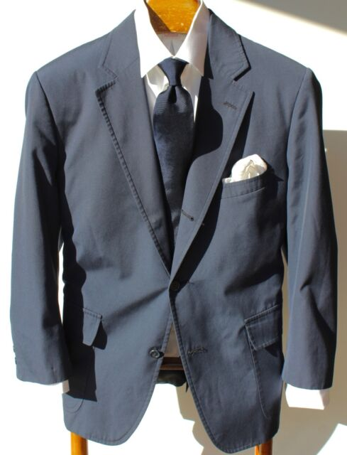 Brooks Brothers 44R Vintage Blue Brookscool 3-Roll/2 Jacket- Patch Pockets - USA