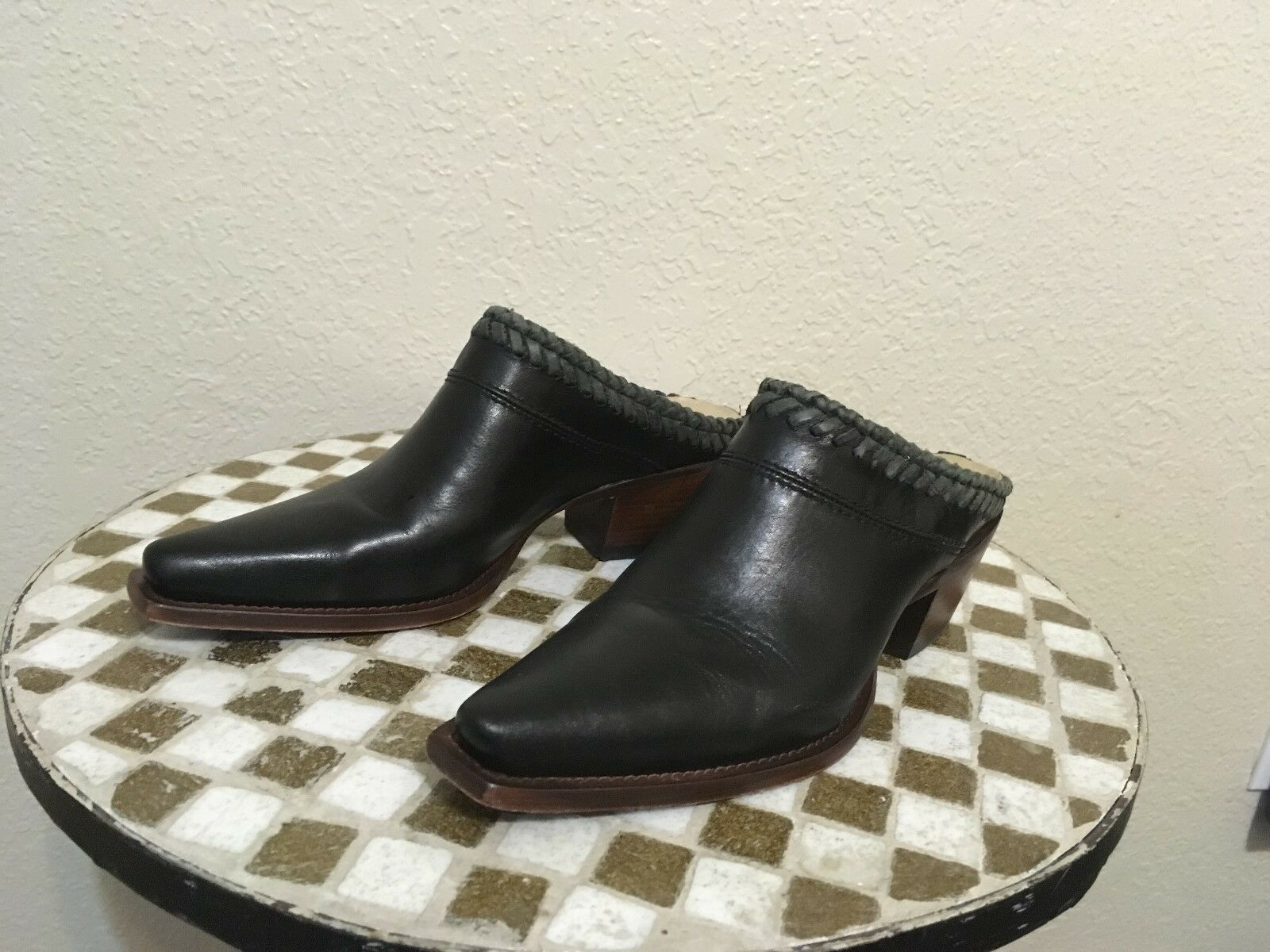 HANDMADE IN BRAZIL noir SLIP ON LUCCHESE POINTY chaussures MULES 7 B