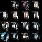 8MM Gold Silver Black Tungsten Carbide CZ Wedding Band Bridal Mens Womens Ring