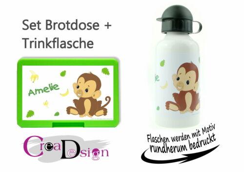 Brotdose Pausenbox Brotbox mit Namen Trinkflasche Alutrinkflasche Affe