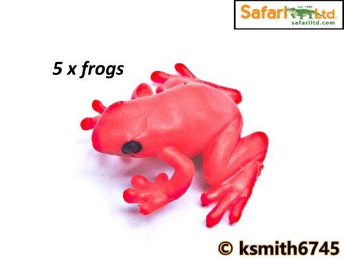 nouveau Safari 5 x Mini rouge grenouille solide Jouet en plastique Rainforest Amphibien animal