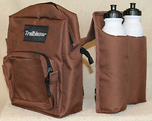 BROWN Trail Saddle INSULATED Horn Bag with 2 water bottles and 2 compartments