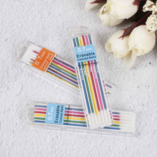 3Boxes 0.7mm Colored Mechanical Pencil Refill Lead Erasable Student Stationa NMU