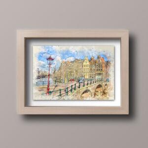 Watercolour-Amsterdam-Scene-Skyline-Home-Print-Gift-Wall-Art-A4-Unframed