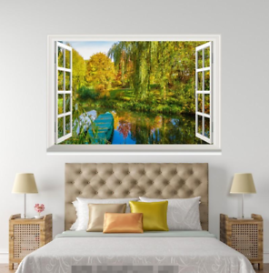3D Green Willow River 218 Open Windows WallPaper Murals Wall Print AJ Jenny