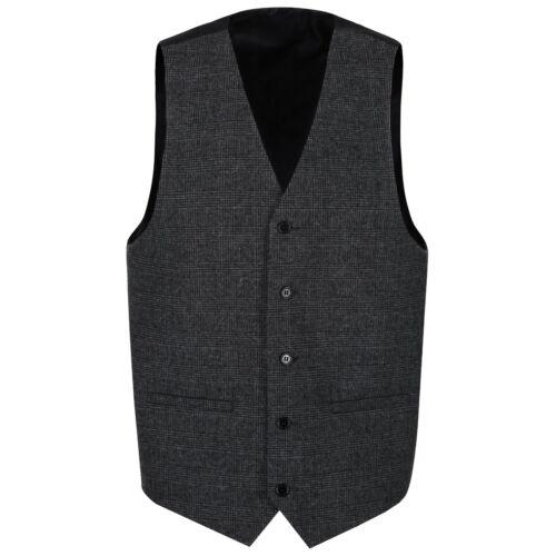 Homme laine Clarence Gris Graphite tweed carreaux gilet Qualité Gilet NEUF