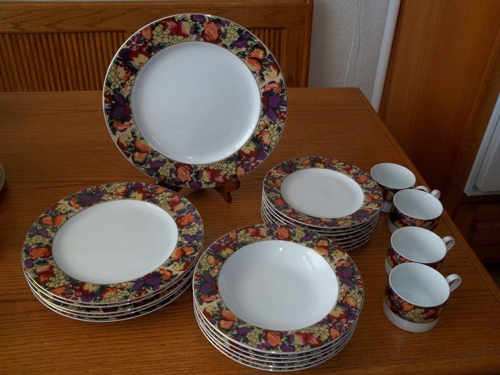 American Atelier Fruitage Dish Set  23 pieces  Assiettes Tasses Bols
