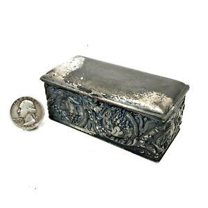 Vintage Simpson Hall Miller Quadruple Silver Plate Ornate TRINKET BOX jewelry