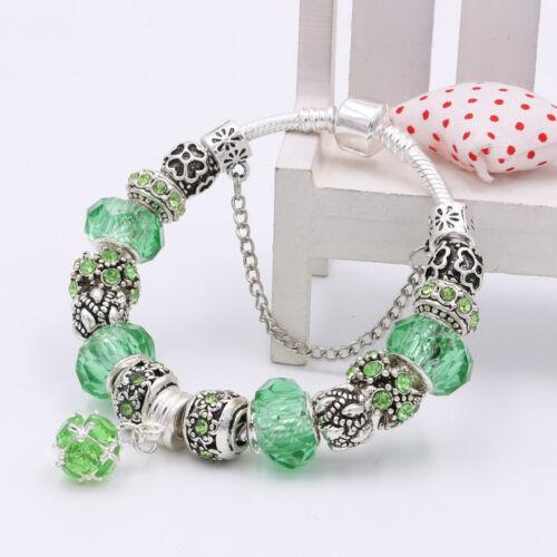 Silver Plated Bangle Green//Light Blue Crystal European Charm Beads Bracelet Gift