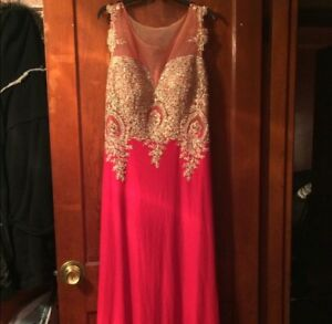 Details about Red And Gold Plus Size Prom Dress