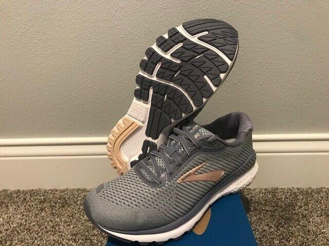 Women's Size 11 Wide Brooks Adrenaline GTS 20 Running Shoes Grey/Peach/White NIB