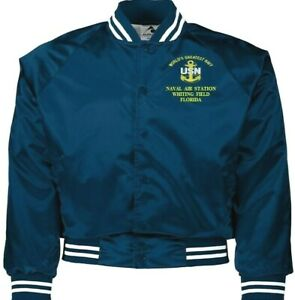 NAVAL AIR STATION WHITING FIELD FLORIDA NAVY EMBROIDERED 2-SIDED SATIN JACKET