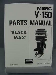 Mercury V 150 Black Max Outboard Motor Parts Manual 150 Hp 1981