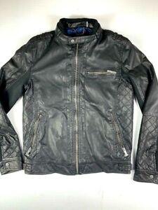 GUESS-Los-Angeles-Mens-Faux-Leather-Biker-Full-Zip-Jacket-Size-S-Black