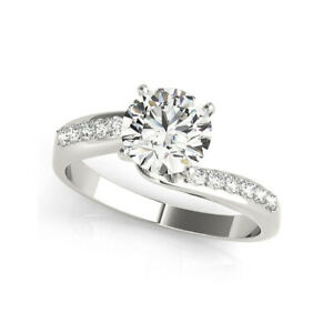 1.50 Ct Round Moissanite Engagement Ring 14K Proposal Solid White Gold Size 7
