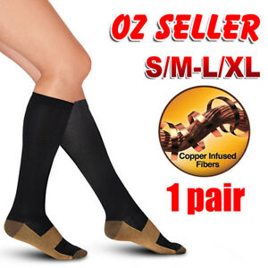 5231a385d1 Image is loading Miracle-Copper-Compression-Socks-Anti-Fatigue -Unisex-Travel-