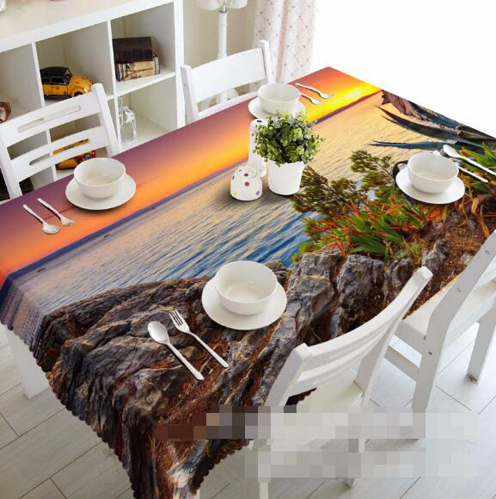 3D Sunset 406 Nappe Table Cover Cloth fête d'anniversaire AJ papier peint Royaume-Uni Citron