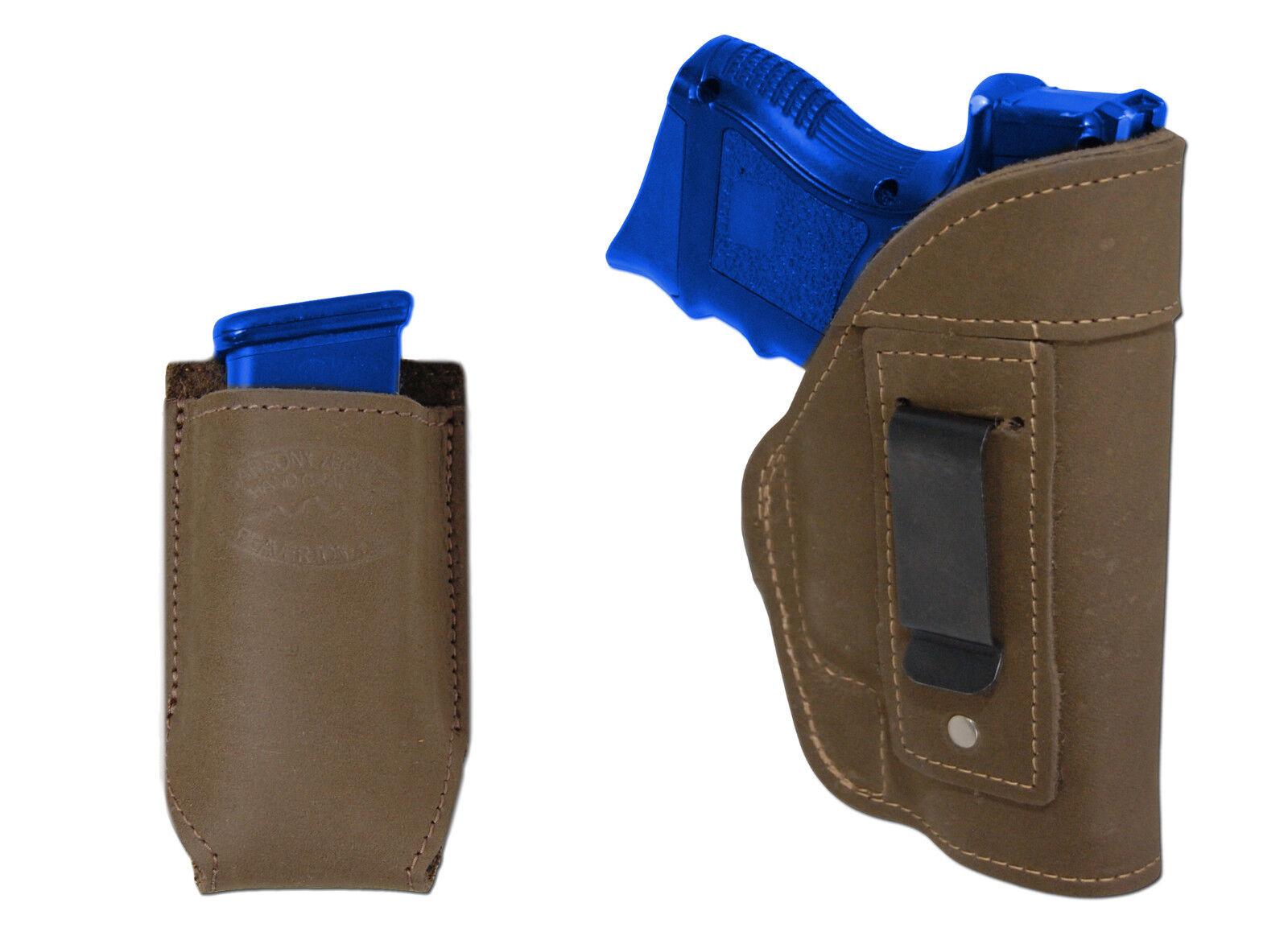 NEW Barsony Olive Drab Leder IWB Holster + Mag Pouch for HK, Kahr Comp 9mm 40