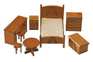 Ensemble chambre à coucher enfant 8 pièces bois couleur miel ...