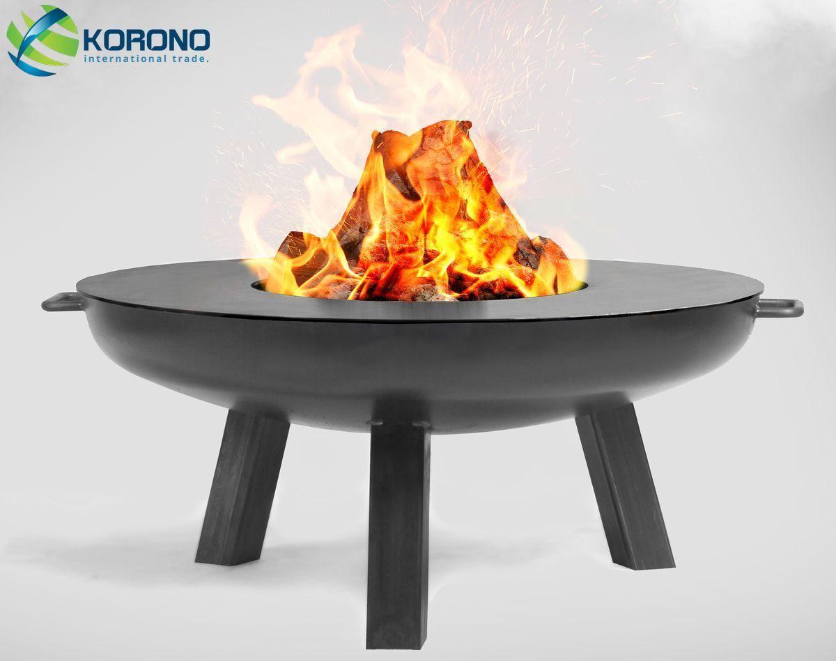 Korono Receptáculo de Fuego Ø 100cm Diámetro con Acero Placa Parrilla, Fabricado
