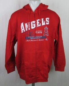 b1d493e17 Los Angeles Angels Men s Majestic Red Distressed Hooded Sweatshirt ...