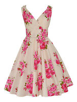 VINTAGE 50's IVORY PINK BOUQUET COTTON  ROCKABILLY BRIDESMAID TEA DRESS NEW 8-22