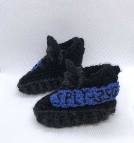 Blue Black Y 350 Baby sneaker Crochet Baby Crochet Shoes