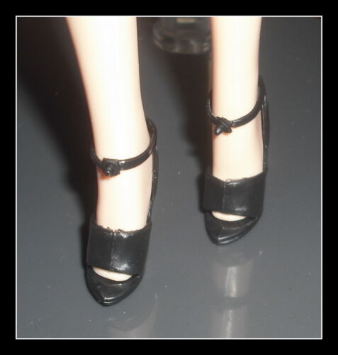 SHOES MATTEL BARBIE STEPPIN OUT BLACK OPEN TOE STRAP SANDAL HIGH HEEL ACCESSORY