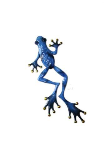 Metal 3D Blue Frog Indoor Outdoor Wall Yard Art Decororation Sculpture