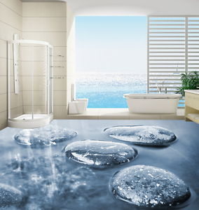 3D Stones In Water 4 Floor WallPaper Murals Wall Print 5D AJ WALLPAPER AU Lemon