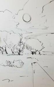JOSE TRUJILLO - Moon Tonalist Style ORIGINAL Charcoal Paper Sketch Drawing 11X17