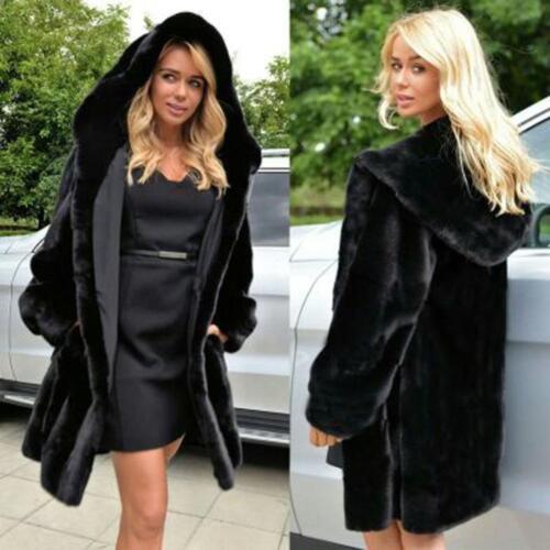 Women Warm Winter Thick Faux Fur Hooded Parka Coat Overcoat Long Jacket Outwear