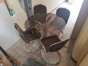 Enthousiaste Table Et Chaises Chromées Circa 1970 Vintage Chairs Italian Design Rinaldi Style Bon Pour L'éNergie Et La Rate