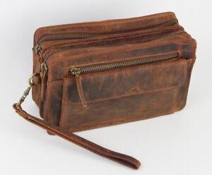 Echt Leder Herren Luxus Handgelenktasche Herrenhandtasche Brieftasche Geldbörse