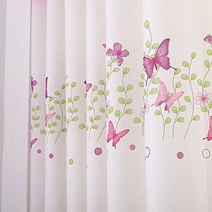 Cute 1piece Pink Eyelet Butterfly Finished Curtain Kids