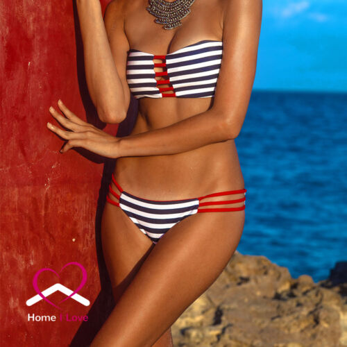New Reversible Bikini Bandeau Style 4 in 1 Red and White/&Blue Stripes Size S